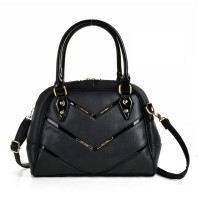 SY2143 Black - Patent Handle Double Zipper Top Tote Bag