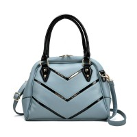 SY2143 Blue - Patent Handle Double Zipper Top Tote Bag