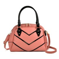 SY2143 Pink - Patent Handle Double Zipper Top Tote Bag
