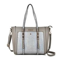 SY2145 Grey - Studded Tote Bag With Crossbody Strap