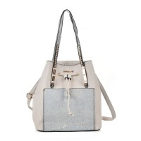 SY2146 Beige - Patchwork Drawstring Bucket Bag With Metal