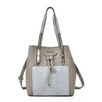 SY2146 Grey - Patchwork Drawstring Bucket Bag With Metal