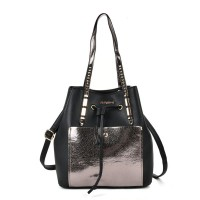 SY2146 Silver - Patchwork Drawstring Bucket Bag With Metal