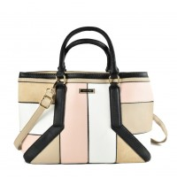 SY2147 Beige - Oversized Patchwork Tote Bag