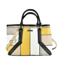 SY2147 Yellow - Oversized Patchwork Tote Bag