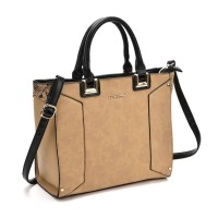 SY2148 Apricot - Oversized Metal Detail Tote Bag With Black Handle