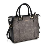 SY2148 Black - Oversized Metal Detail Tote Bag With Black Handle