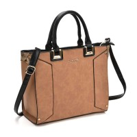 SY2148 Brown - Oversized Metal Detail Tote Bag With Black Handle