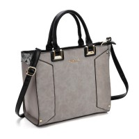 SY2148 Grey - Oversized Metal Detail Tote Bag With Black Handle