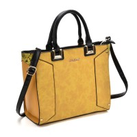 SY2148 Yellow - Oversized Metal Detail Tote Bag With Black Handle