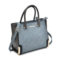 SY2149 Blue - Patchwork Large Tote Bag With Metal