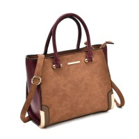 SY2149 Brown - Patchwork Large Tote Bag With Metal
