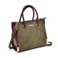 SY2149 Green - Patchwork Large Tote Bag With Metal