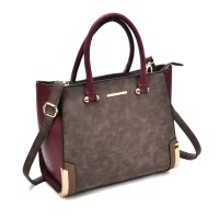 SY2149 Taupe - Patchwork Large Tote Bag With Metal