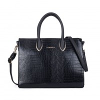 SY2151 Black - Clean Large Crocodile Grain Metallic Tote Bag