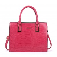 SY2152 Fushia - Crocodile Large Tote Bag With Metal Detail
