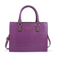 SY2152 Purple - Crocodile Large Tote Bag With Metal Detail