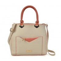 SY2153 Beige - Contrasting Color Tote Bag