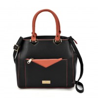 SY2153 Black - Contrasting Color Tote Bag