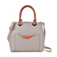SY2153 Grey - Contrasting Color Tote Bag