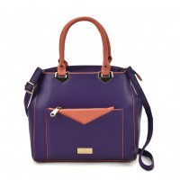 SY2153 Purple - Contrasting Color Tote Bag