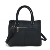 SY2154 Black - Lady Front Zipper Tote Bag