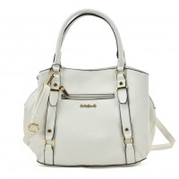 SY2157 White - Fashion Zip Front Tote Bag