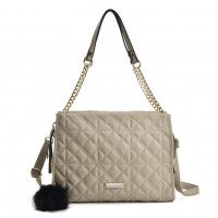 SY2158 Grey - Press Grain Dual-Use Handbag With Pom Poms