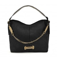SY2159 Black - Chain Handle Slouch Bag