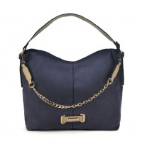 SY2159 Navy - Chain Handle Slouch Bag