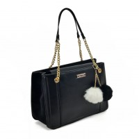 SY2160 Black - Chain Tote Bag With Pom Pom