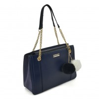 SY2160 Navy - Chain Tote Bag With Pom Pom