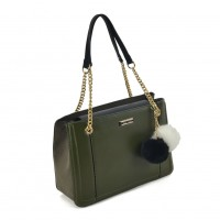SY2160 Olive - Chain Tote Bag With Pom Pom