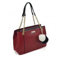 SY2160 Red - Chain Tote Bag With Pom Pom