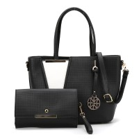 SY5017 Black - Women Fashion Patchwork Handbag & Purses Set