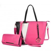 SY5017 Fushia - Women Fashion Patchwork Handbag & Purses Set