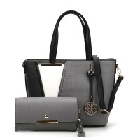 SY5017 Grey - Women Fashion Patchwork Handbag & Purses Set