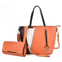 SY5017 Orange - Women Fashion Patchwork Handbag & Purses Set