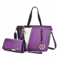 SY5017 Purple - Women Fashion Patchwork Handbag & Purses Set