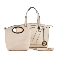 SY5019 Beige - Patchwork Metal Pendant Women Handbag & Purses Set