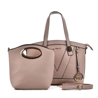 SY5019 Pink - Patchwork Metal Pendant Women Handbag & Purses Set