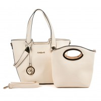 SY5020 Beige - Patchwork Metal Decoration Women Handbag & Purses Set