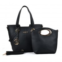 SY5020 Black - Patchwork Metal Decoration Women Handbag & Purses Set