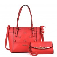 SY5021 Red - Patchwork Flower Decoration Women Handbags & Purses Set
