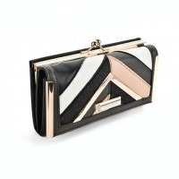 SY5024 Black - Fashion Women Patchwork Stripe Purse