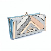 SY5024 Blue - Fashion Women Patchwork Stripe Purse
