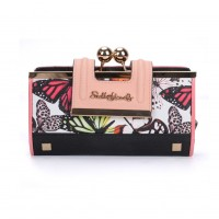 SY5025-1 White - Floral Pattern Women Fashion Buckle Wallet