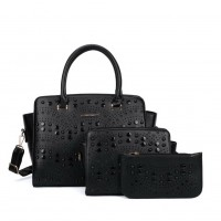 SY5028 Black - Solid Hollow Trapeze Fashion Women Handbag & Purses Set