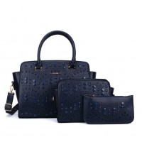 SY5028 Blue - Solid Hollow Trapeze Fashion Women Handbag & Purses Set