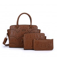 SY5028 Brown - Solid Hollow Trapeze Fashion Women Handbag & Purses Set